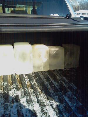 Ice blocks in truck bed